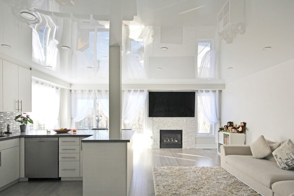 custom apartment with luxury stretch ceiling mirror effect