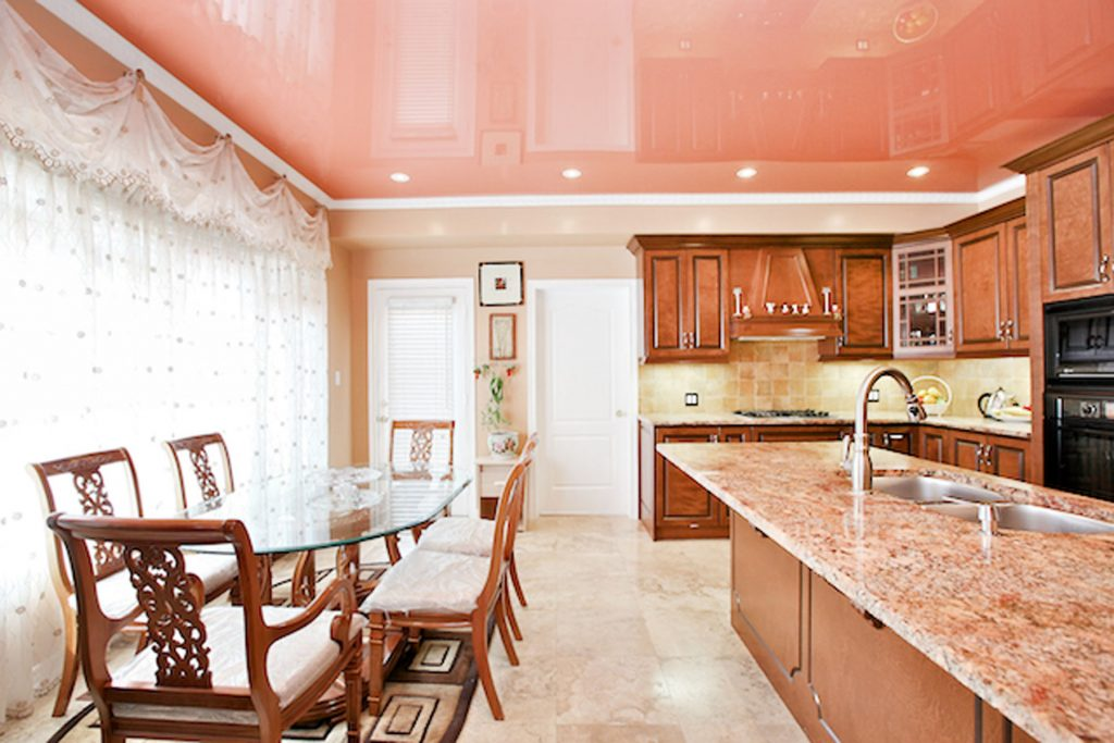 pink reflective stretch ceiling in custom kitchen by laqfoil