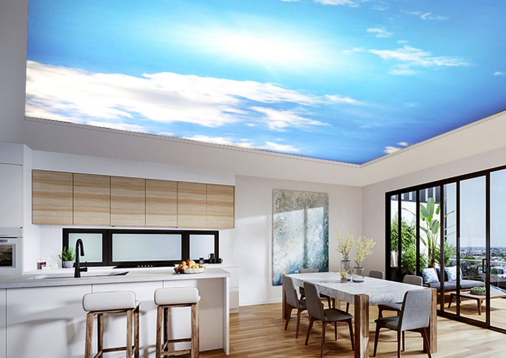 amazing kitchen with sky printed ceiling by laqfoil fort lauderdale