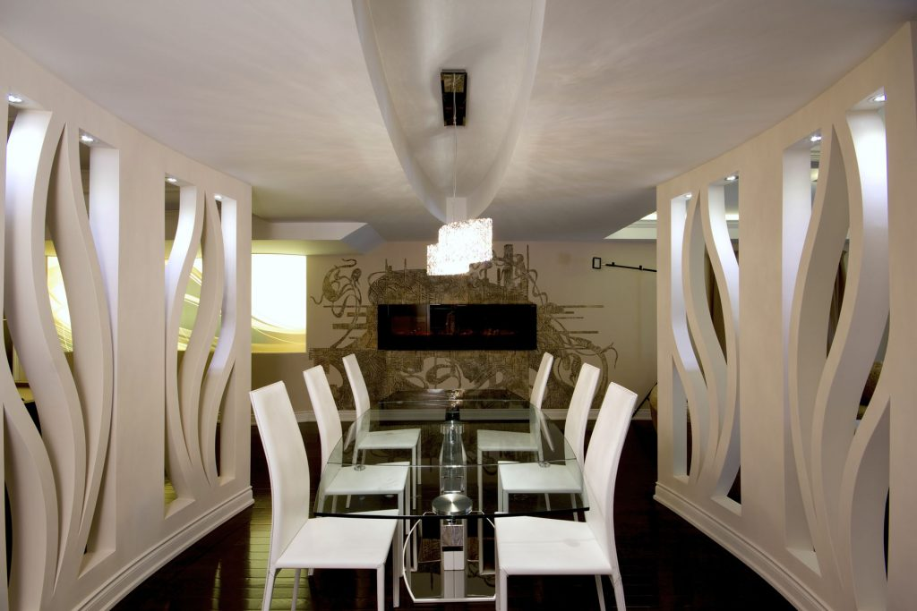 custom wall cover in luxury basement by laqfoil