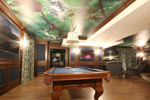 basement game room with Printed Ceilings by laqfoil canada