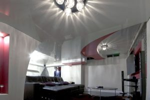 basement with stretch ceiling mirror effect uk