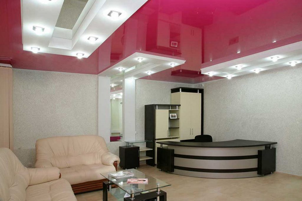 multilevel gloss stretch ceiling in luxury basement USA