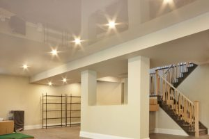 high gloss stretch ceiling with potlights in custom basement by laqfoil toronto