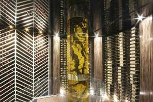luxury basement wine cellar with black stretch ceiling design by laqfoil