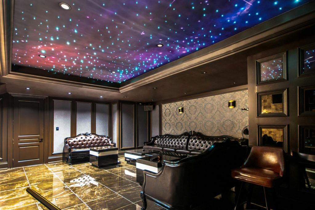 custom home theater with 3d infinity ceiling stretch print of Starry Sky