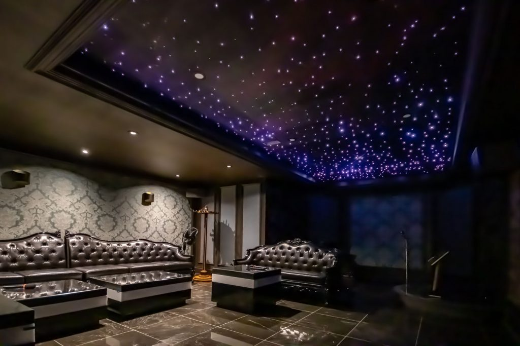 3d stretch ceiling Starry Sky in custom basement toronto