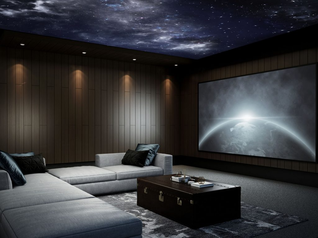 luxury basement home theater with Starry Sky Ceilings london