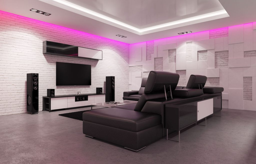 laqfoil pink back lit high gloss stretch ceiling