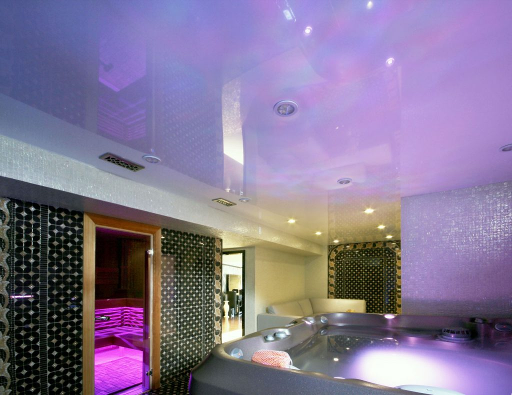 purple stretch ceiling glossy in hot tub room by laqfoil