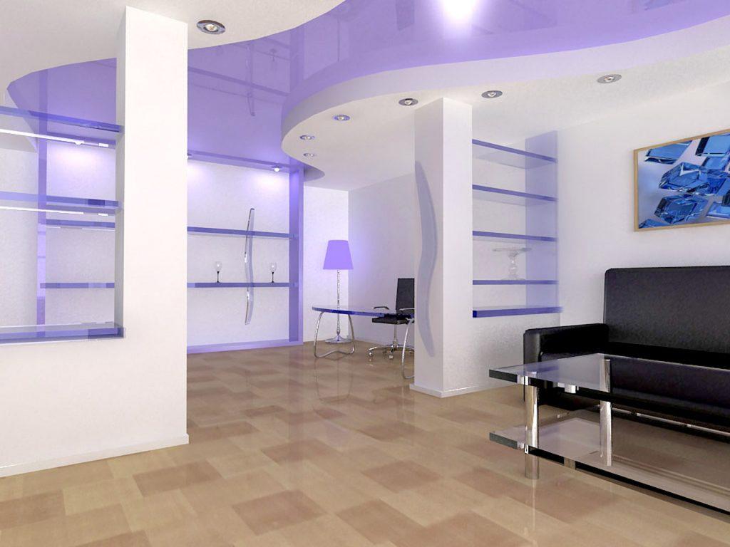 custom basement with multilevel reflective purple stretch ceiling decor