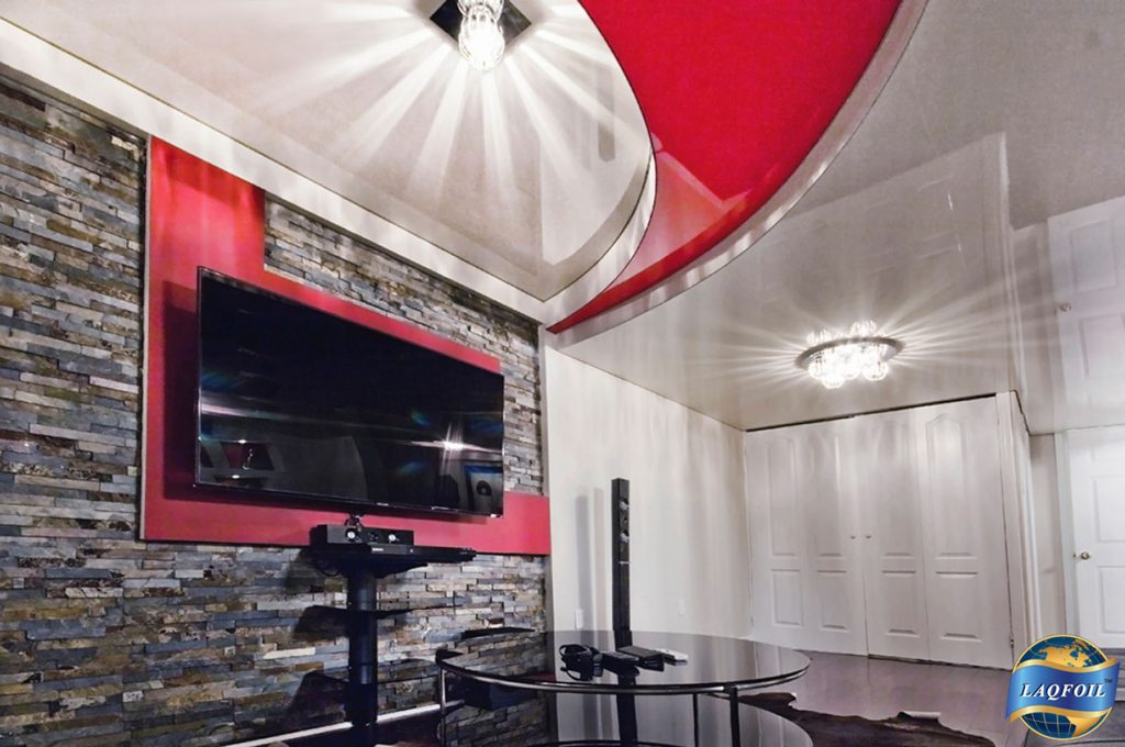 multilevel red universal stretch ceiling in luxury basement by laqfoil