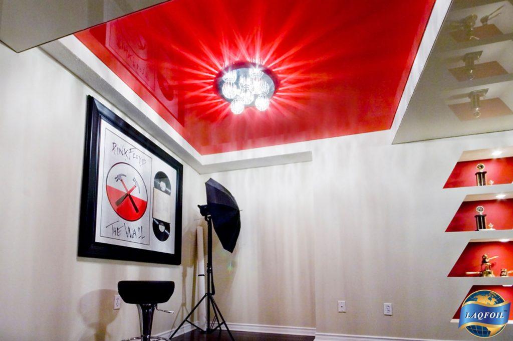 red gloss stretch ceiling in luxury basement delhi