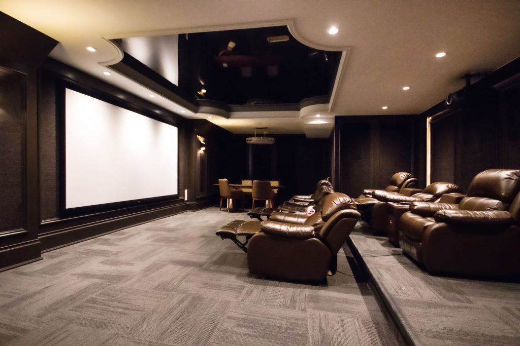 multilevel black gloss stretch ceiling in home theater romania