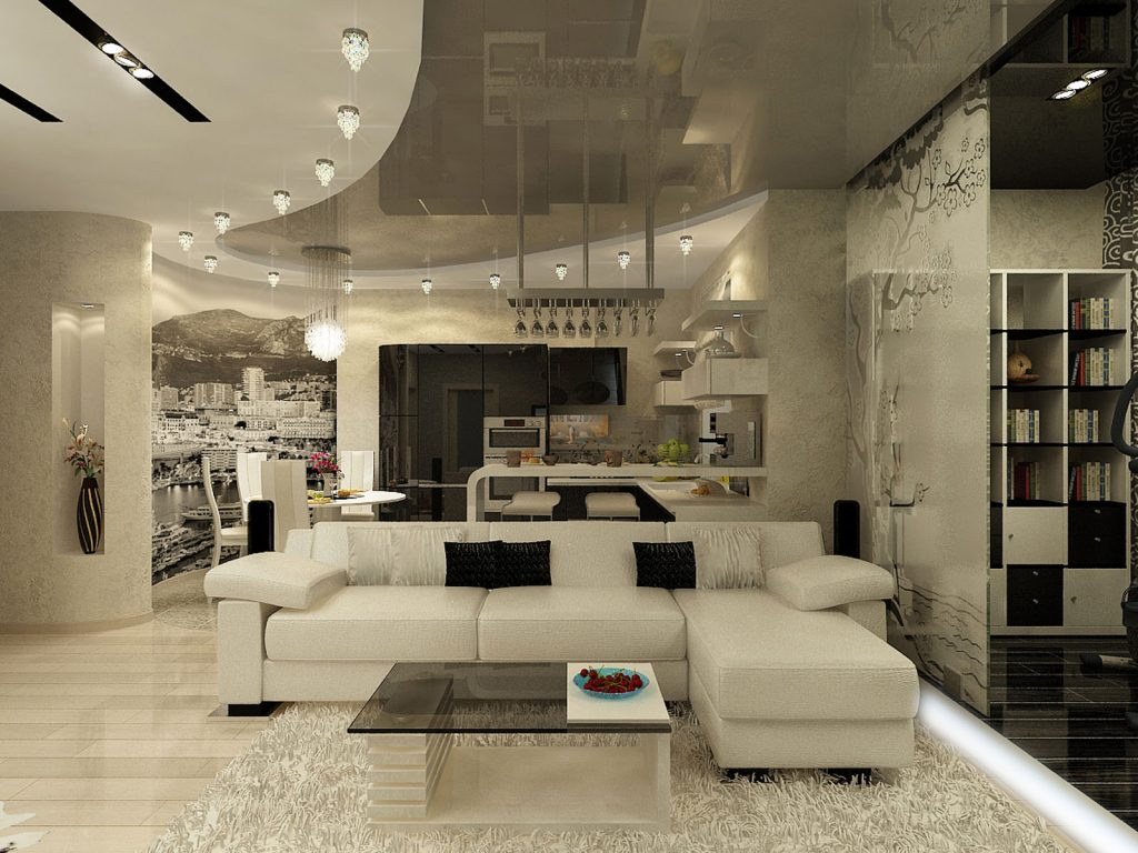 multilevel stretch ceiling glossy gray fabric in the basement by laqfoil