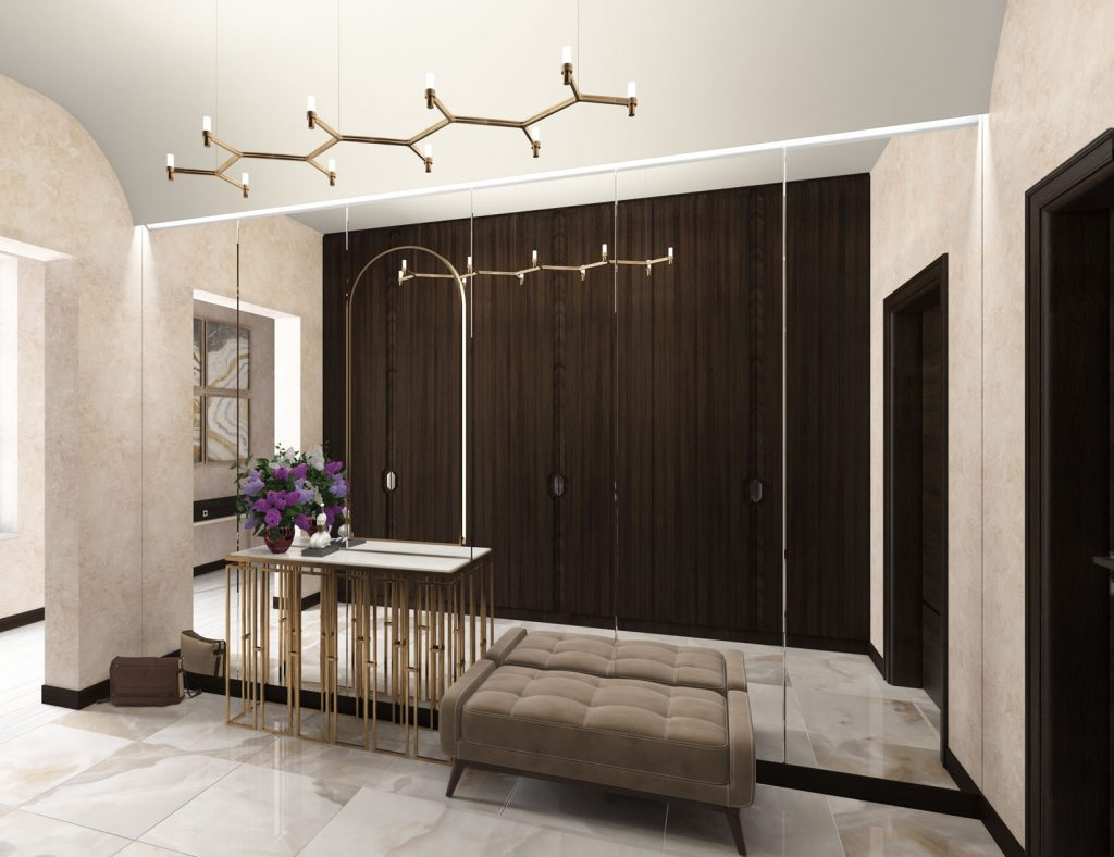 Linear Lights Ceiling and huge mirror in custom home