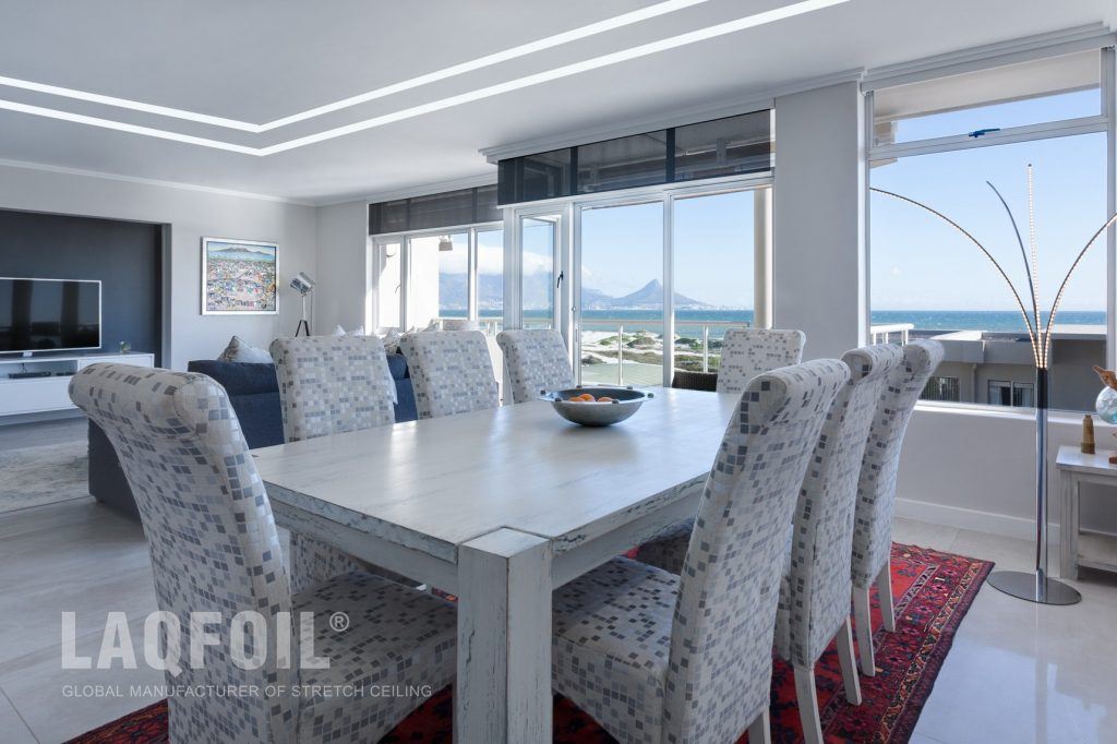 classic dining room with custom liner lights
