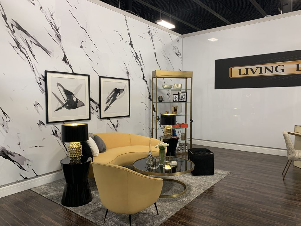 custom living luxe banner on reflective stretch wall hong kong