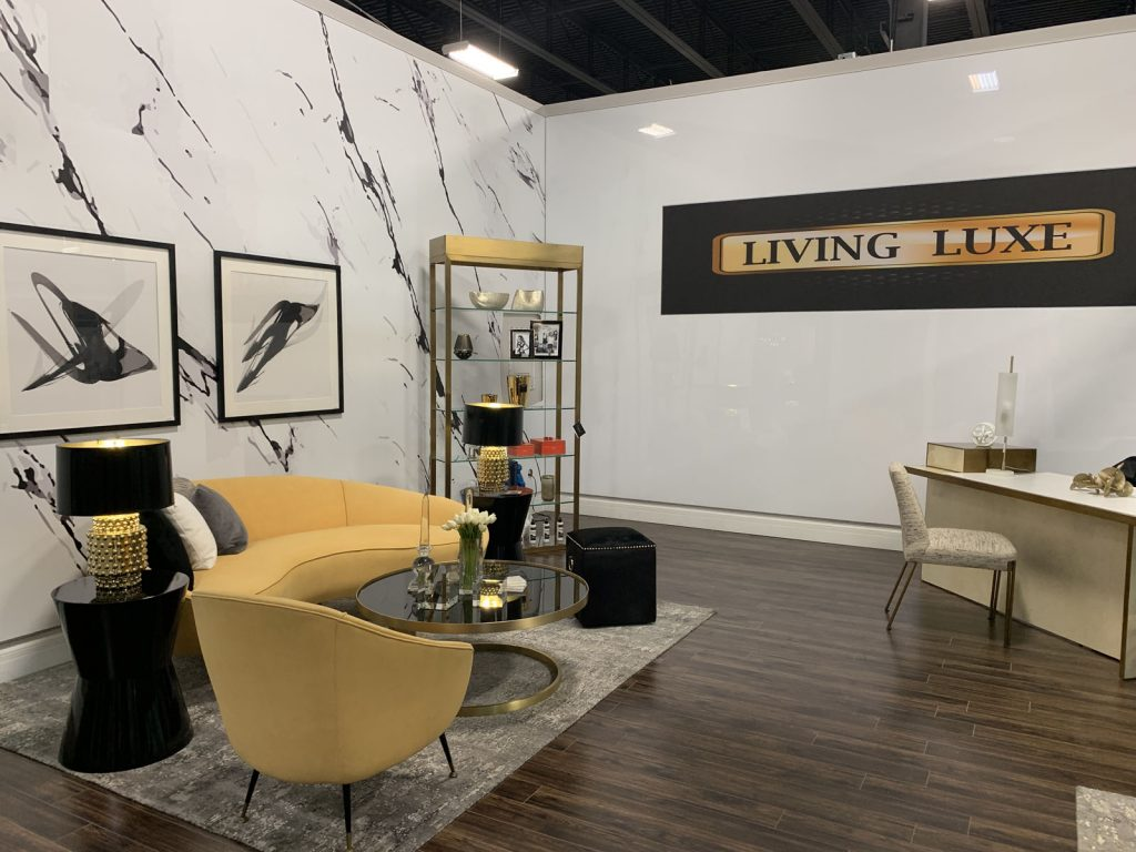 living luxe show room with white stretch ceiling mirror effect by laqfoil