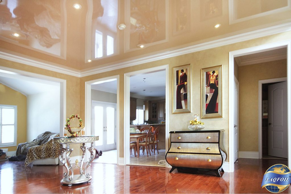 beige gloss stretch ceiling in luxury living room