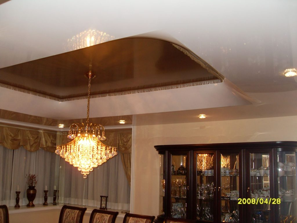 brown and white multilevel stretch ceiling hk