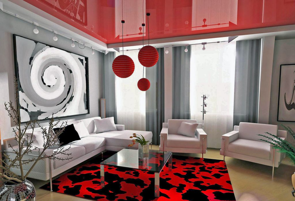 multilevel red stretch ceiling calgary