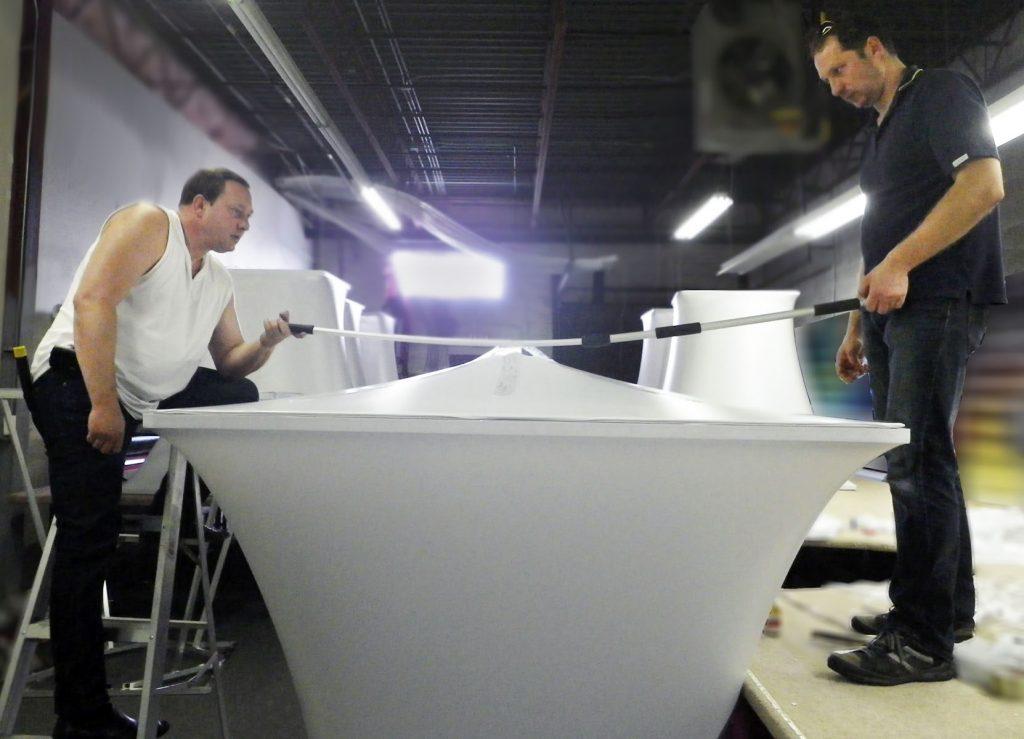laqfoil team measuring new modular structures for muzik toronto