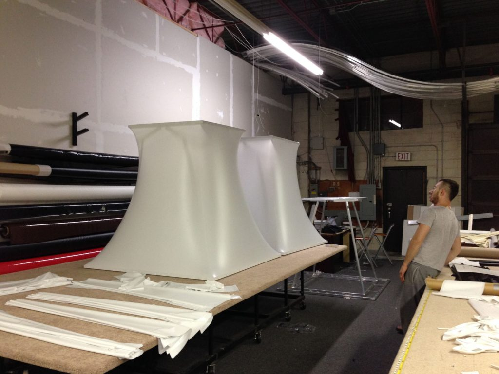 laqfoil team creating modular structure from stretch fabric canada