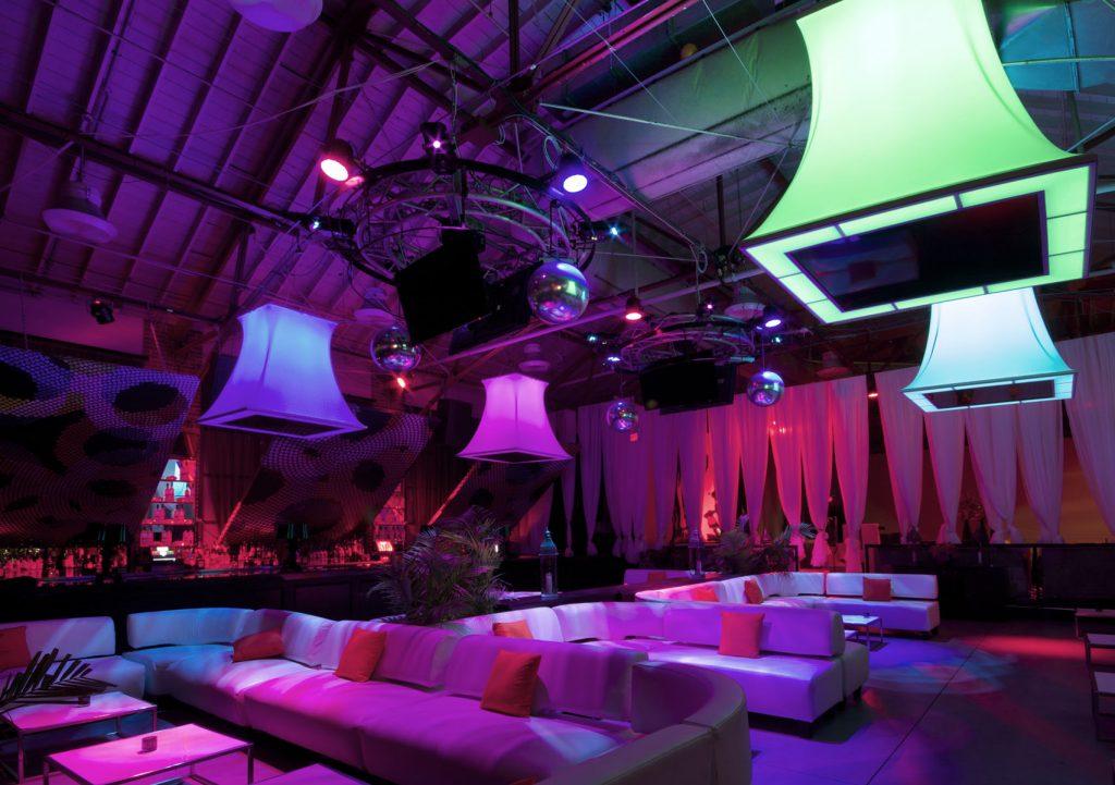 Muzik Night Club with multi color modular structures toronto