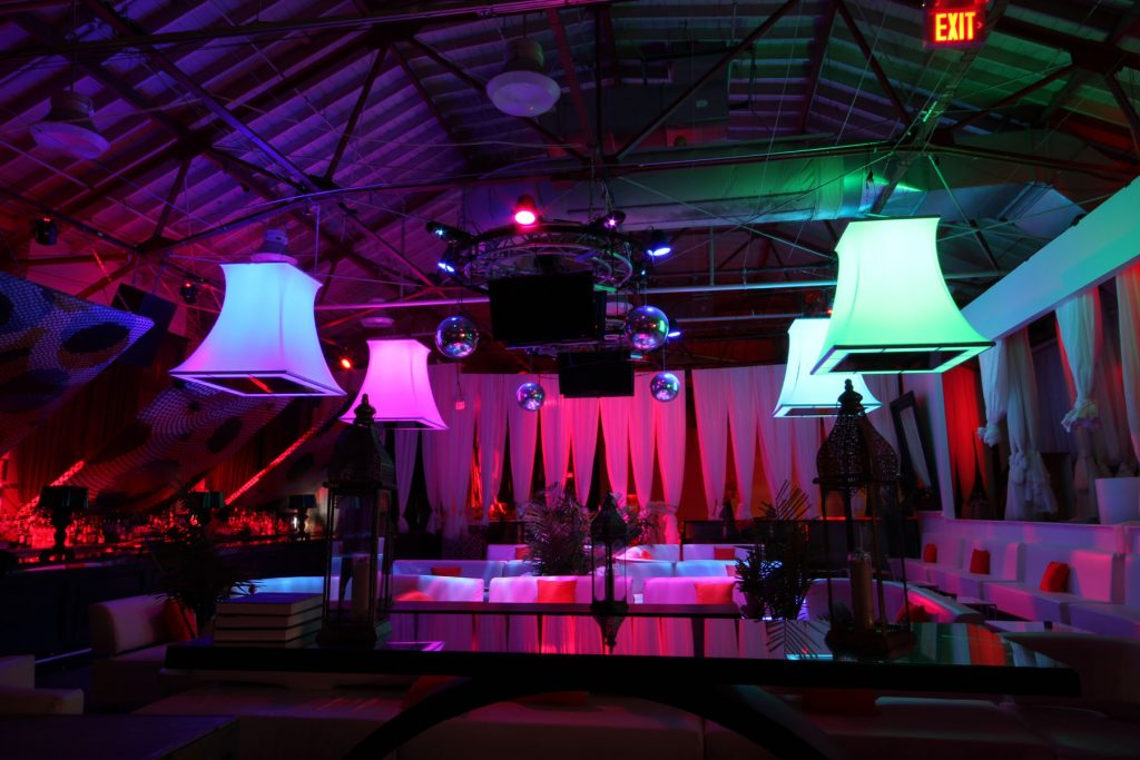 multi color modular structures in amazing muzik night club