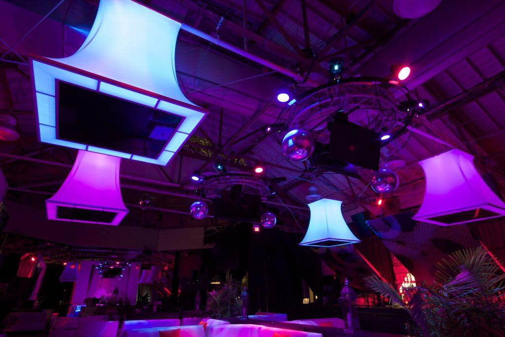 purple and blue modular structure in custom night club