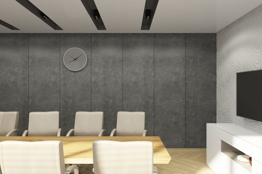 luxury meeting room with high gloss stretch ceiling