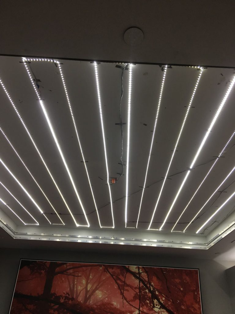 stretch ceiling light installation by laqfoil team