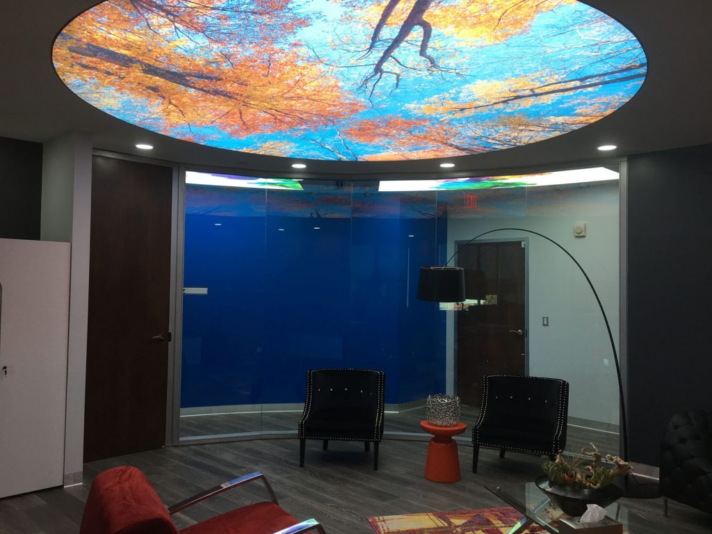 Nando Office with luxury backlit printed ceiling london
