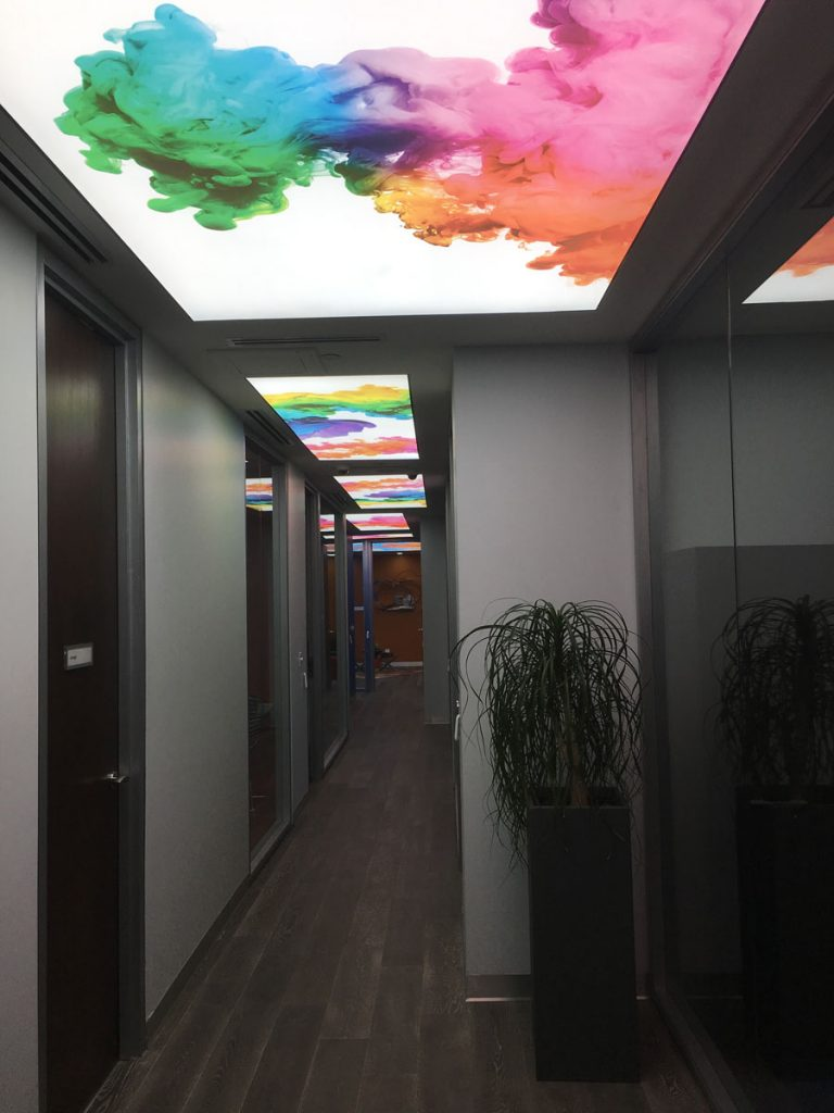 multi color reflective stretch ceiling in luxury hallway