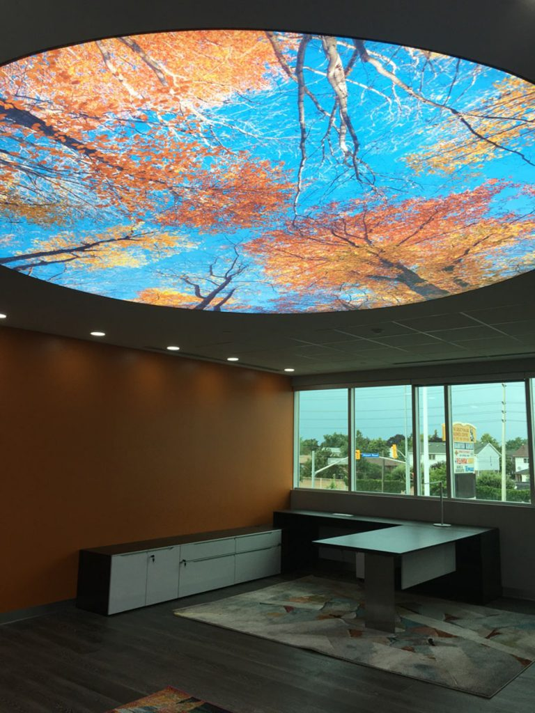 printed stretch ceiling with back lit saudi arabia