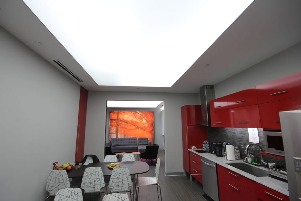 custom dining room with luxury back lit ceiling