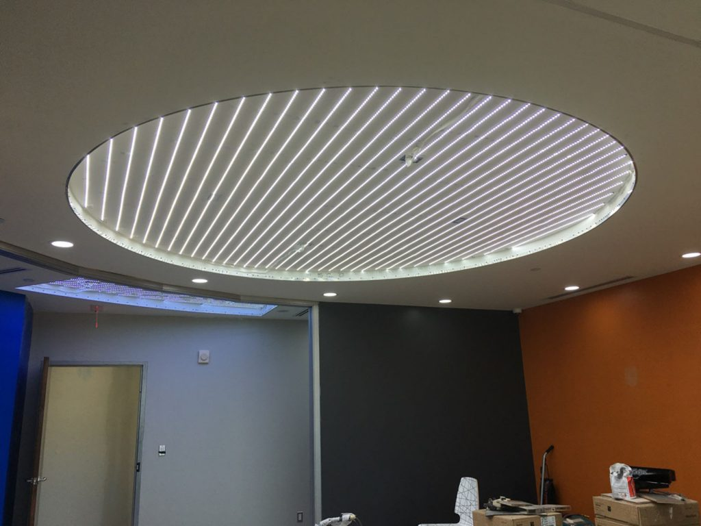 Before applying stretch fabric to custom back lit stretch ceiling