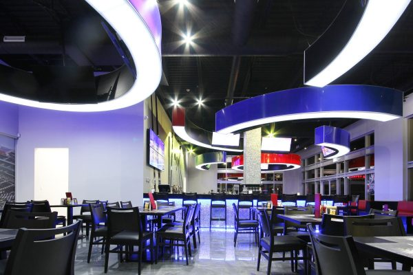 Sport Bar with custom back lit modular structures on the ceiling