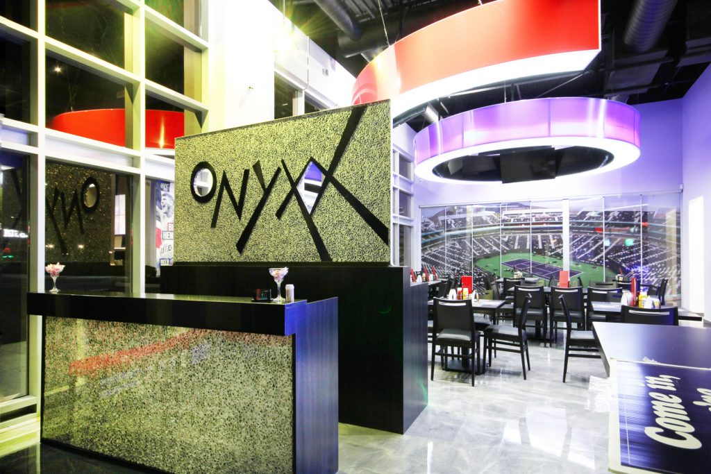 amazing onyxx sport bar with multi color modular structure