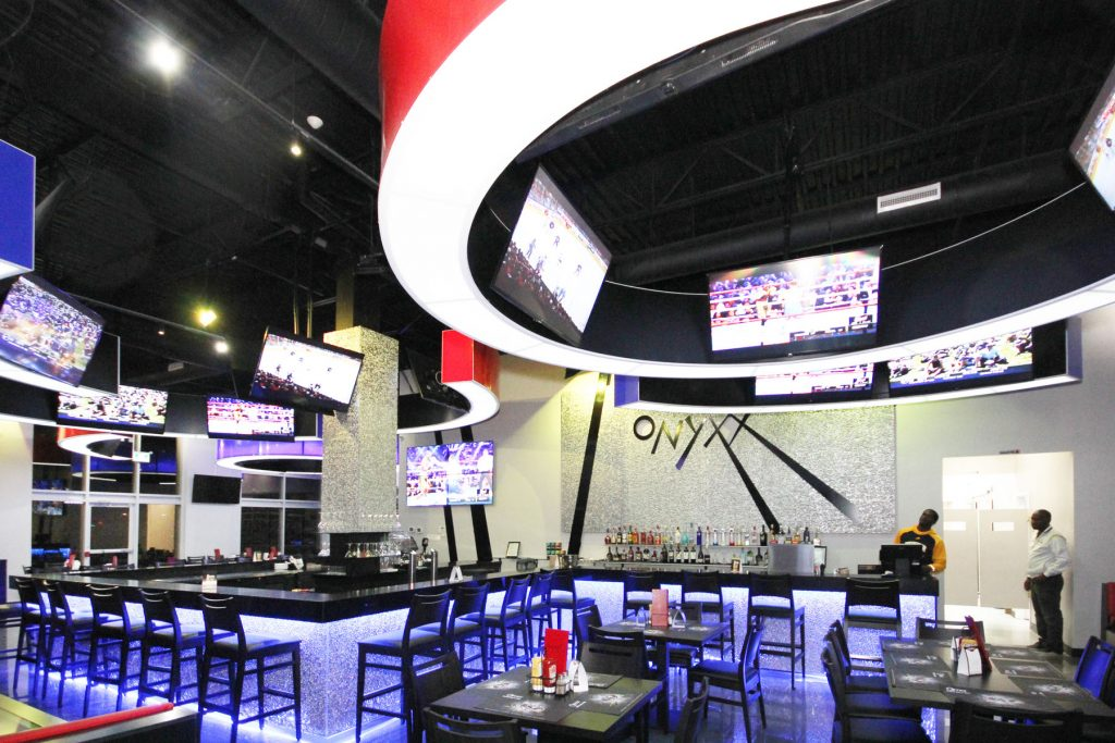 Onyxx Sport Bar modular backlit multilevel ceiling