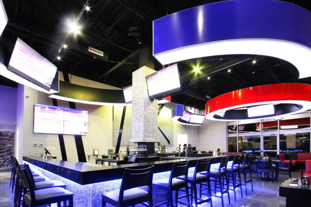 Onyxx Sport Bar multilevel ceiling with mount tv on modular structures