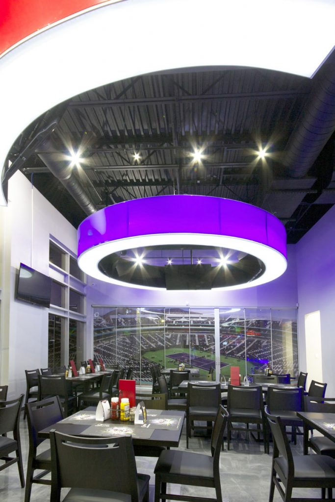 Onyxx Sport Bar red and purple multilevel modular structure