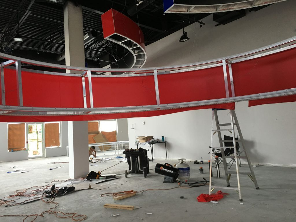 Onyxx Sport Bar red modular structure in progress