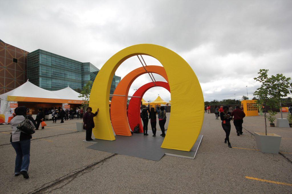 multi color modular structure decor by laqfoil in Oprah Winfre's Tour, Detroit