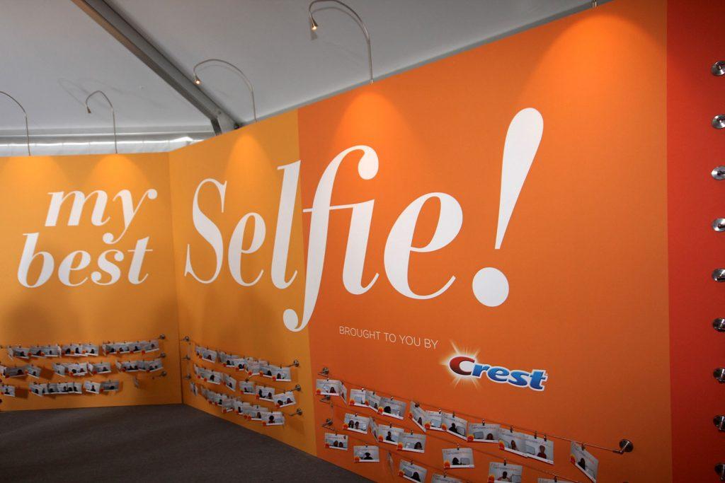 orange custom wall cover for selfie