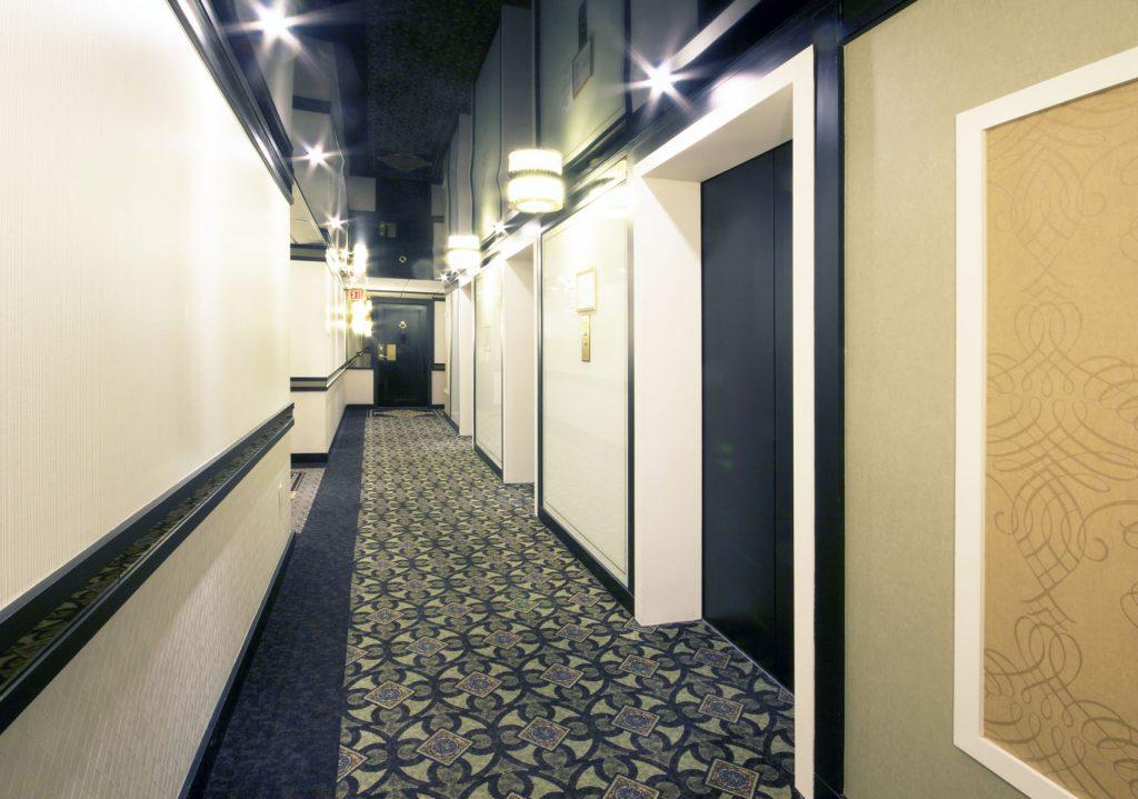 custom hallway with stretch ceiling glossy new york