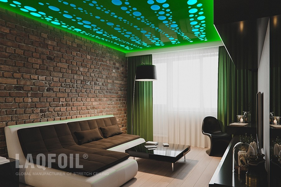 green backlit Perforated ceiling in small family room