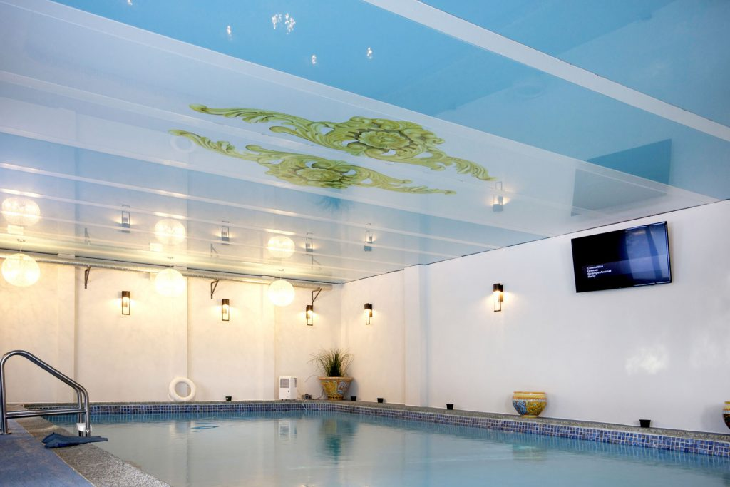 swimming pool with custom printed stretch ceiling uk