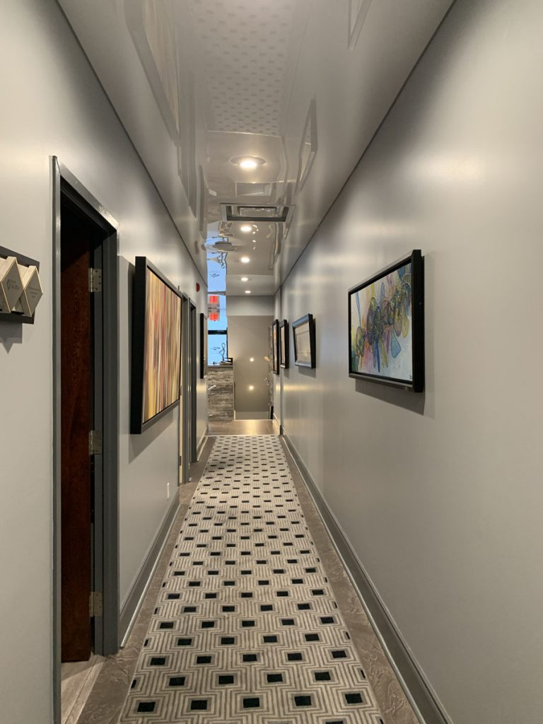 RV Law Office hallway with reflective ceiling